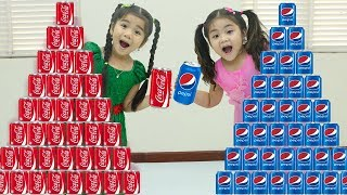 Coke vs Pepsi Soda Pretend Play w/ Suri Funny Kids Playing