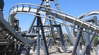 Batman The Ride at Six Flags Magic Mountain - from outside Thumbnail
