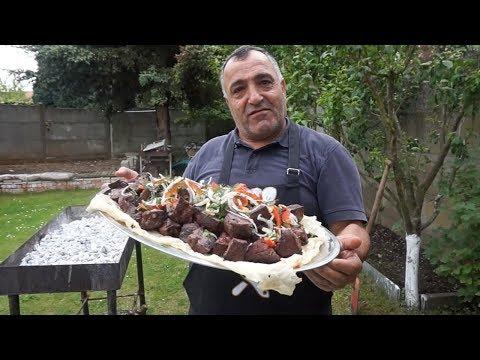 Вкусный и сочный шашлык из говяжьей печени. Рецепт от Жоржа.