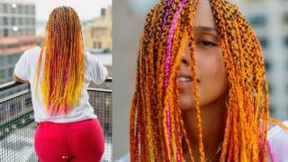 Alicia Keys new hairdo will set mega trends for 2017! Orange braids meets #MIXEDGIRLMAGIC