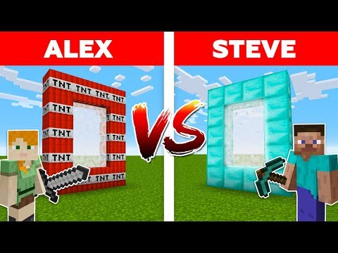MINECRAFT  ALEX vs STEVE! DIAMOND PORTAL vs TNT PORTAL  Minecraft Animation part 7