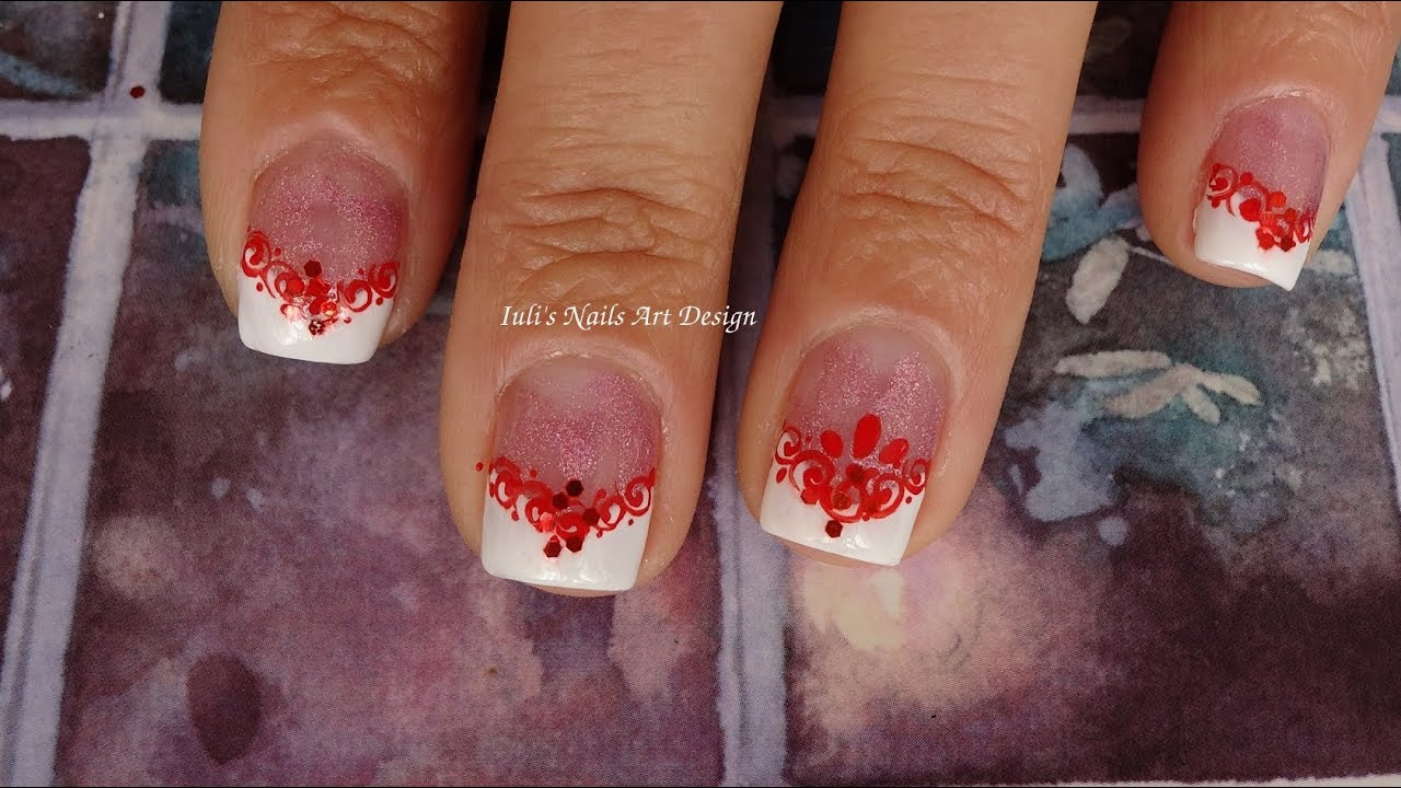 Wedding French Manicure Guest Nail Art Design Red and ...