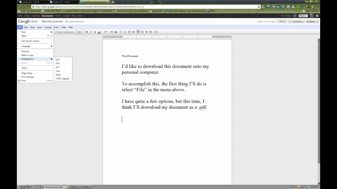 Google Docs How to download a document onto my computer