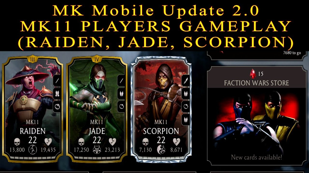Mortal Kombat Mobile Update 2 0 New/Unreleased Characters (MK11 Scorpion,  Jade, Raiden) Gameplay