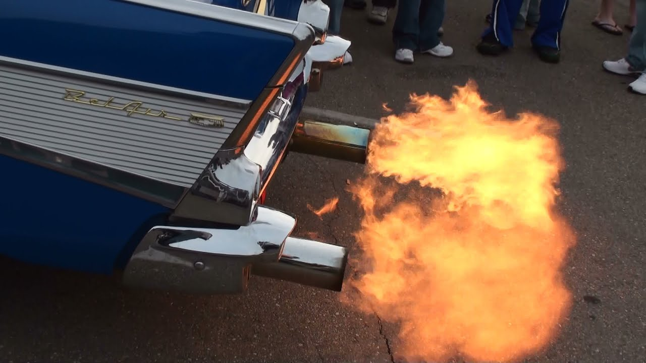 Exhaust flames on trick 1957 chevy bel air street cruiser youtube
