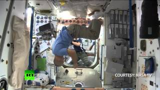 ISS crew playing soccer in zero gravity ahead of World Cup 2014 opening