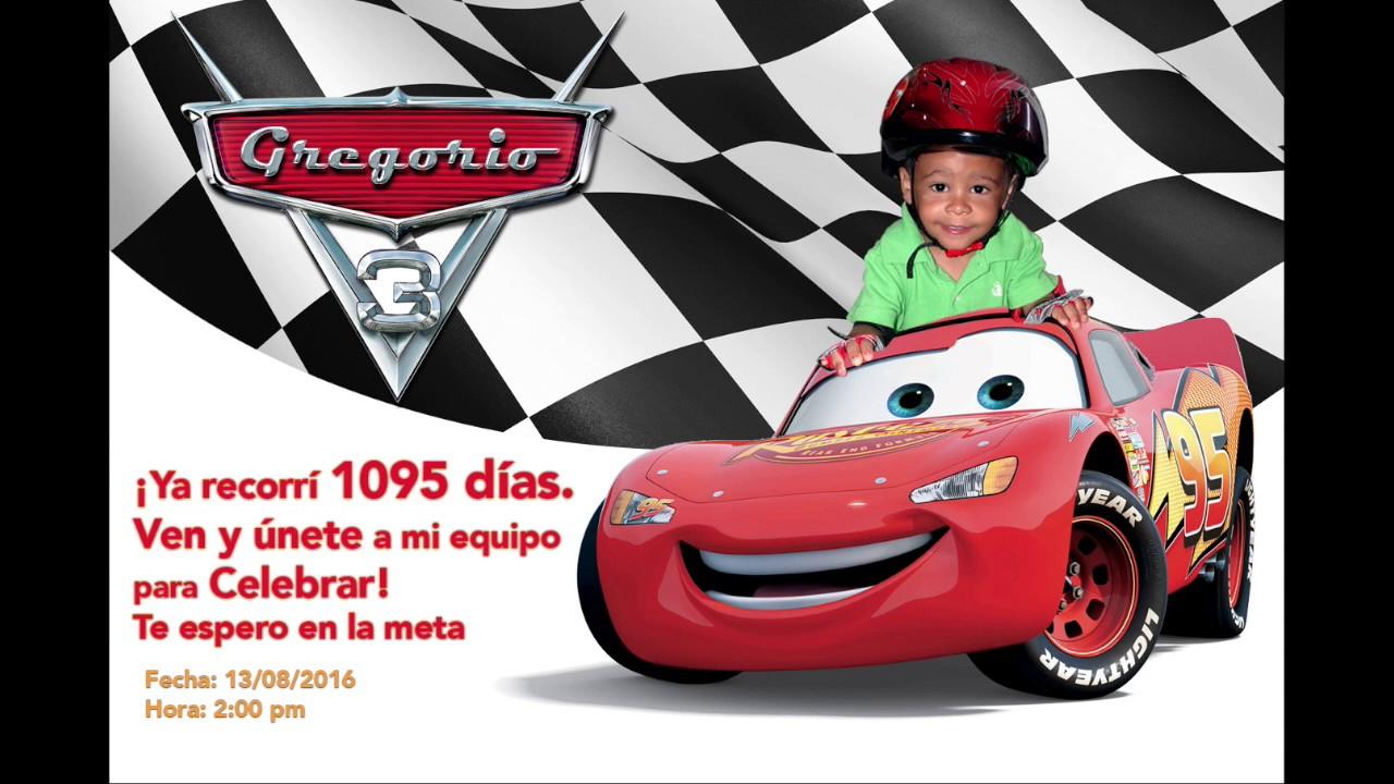 Invitación De Cars 3 Añitos Youtube