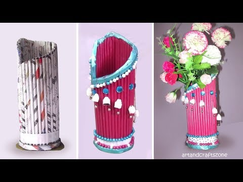 Newspaper Flower Vase making ||best out of waste with newspaper||Newspaper Craft Ideas