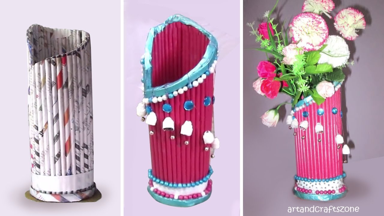 Newspaper flower vase making best out of waste with for Waste paper craft