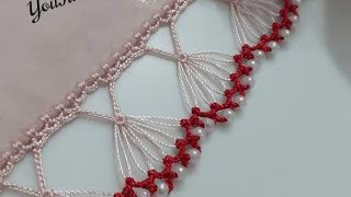 Incili sıralı tığ oya modeli 💜🤍 oya oyamodelleri crochet tigoyalari
