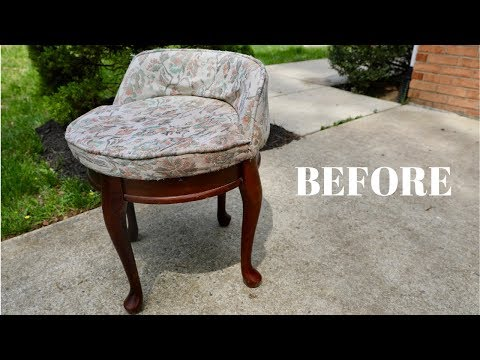 BEFORE and AFTER: Reupholstered Thrift Store Chair Stool Makeover