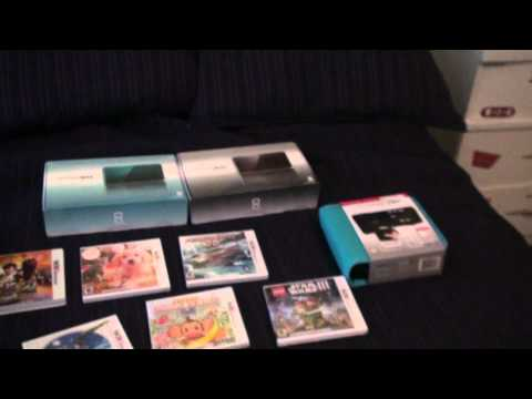 3DS Unboxing! ON RELEASE [USA] (+6 games & both colors!) [HD]