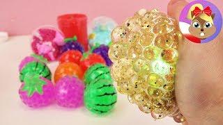NOWE ANTYSTRESOWE GADŻETY: złota piłeczka Squishy Mesh Ball, owoce-piłki Orbeez