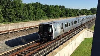 Washington Metrorail HD 60fps: Kawasaki 7000 Series Green & Yellow Line Trains @ College Park
