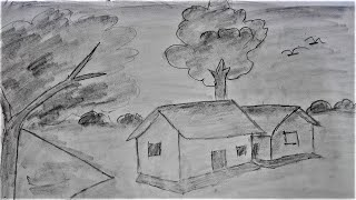 How To Draw Beautiful Scenery | Simple Sketch Using Pencil ||