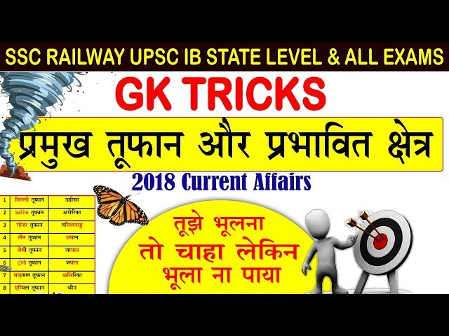 Gk tricks : Major storms and their affected areas sectors | BSSC Current Affairs 2018 online school