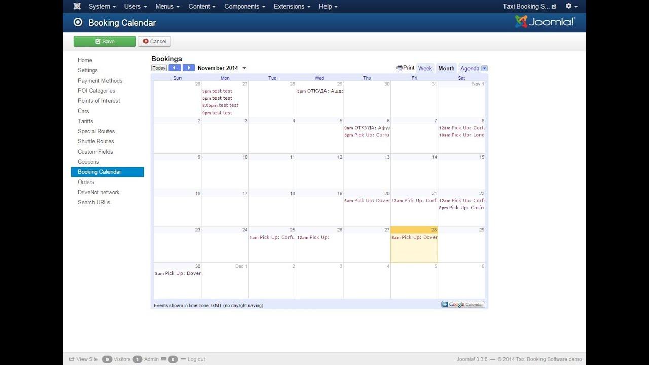 Taxi Booking software Google calendar integration