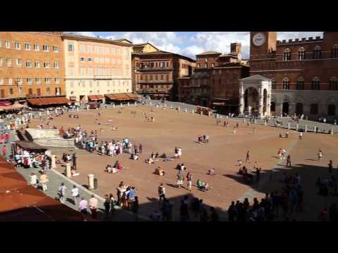 Piazza del Campo, Siena. View of Palazzo Pubblico and its To