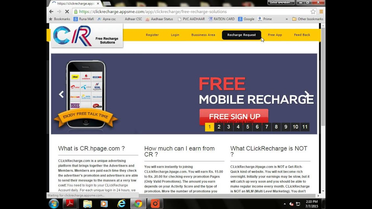 How to login and earn free recharge by clickrecharge hpage com