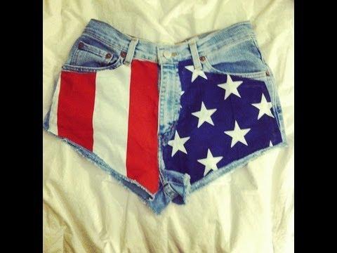 DIY High-Waisted American Flag Shorts #DIYGawd - YouTube
