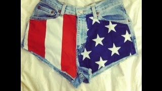 DIY High-Waisted American Flag Shorts