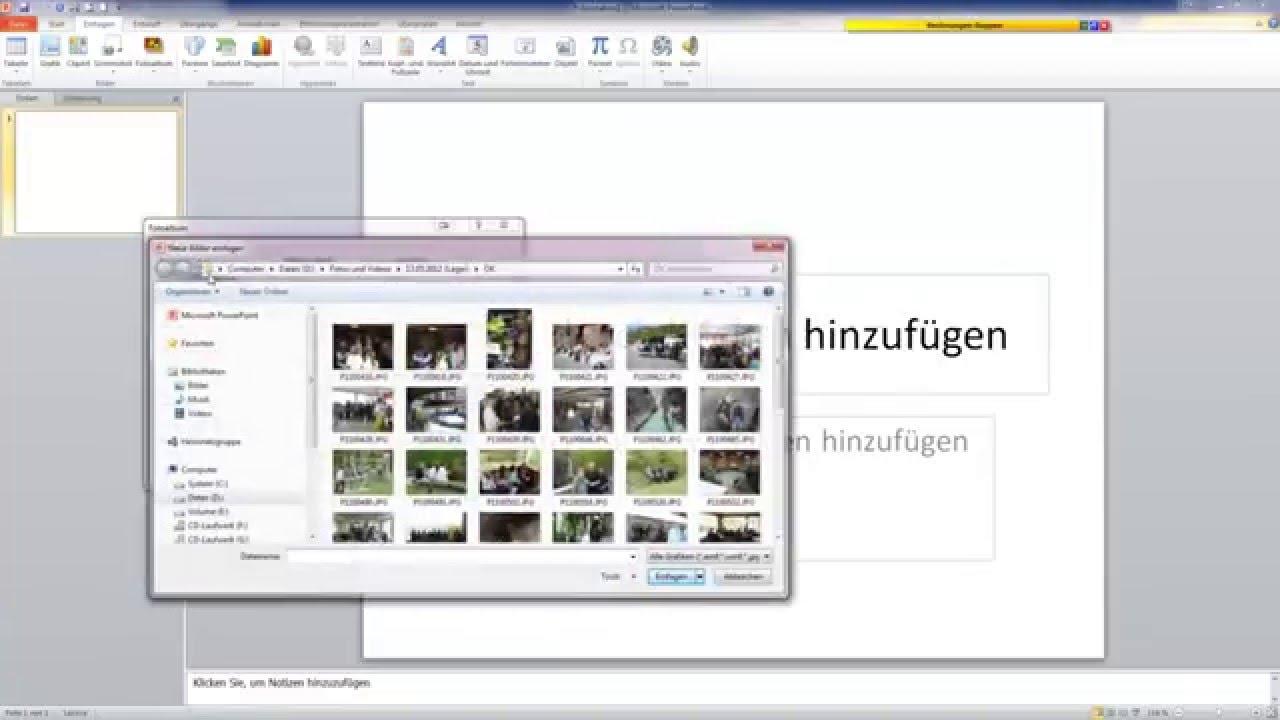 Mehrere Fotos in Powerpoint automatisch einfügen - YouTube