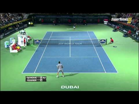 Roger Federer vs Novak Djokovic Dubai 2014 Best point by Federer [HD]