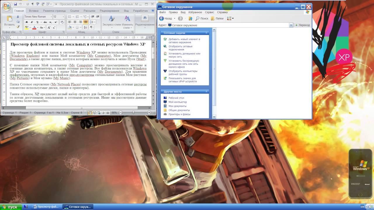 Просмотр файловой системы локальных и сетевых ресурсов Windows XP
