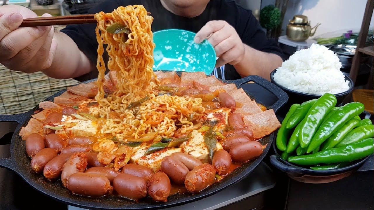 비오는날.. 잡탕 햄 짜글이+땡초+쌀밥 요리먹방 MUKBANG
