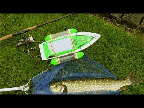 Pike vs RC boat: epic battle. Catching my first fish with baitboat uncut. Рыбалка щука на кораблик.