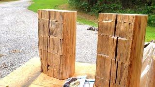 DIY Rustic Hewn Barn Beam Table Lamp