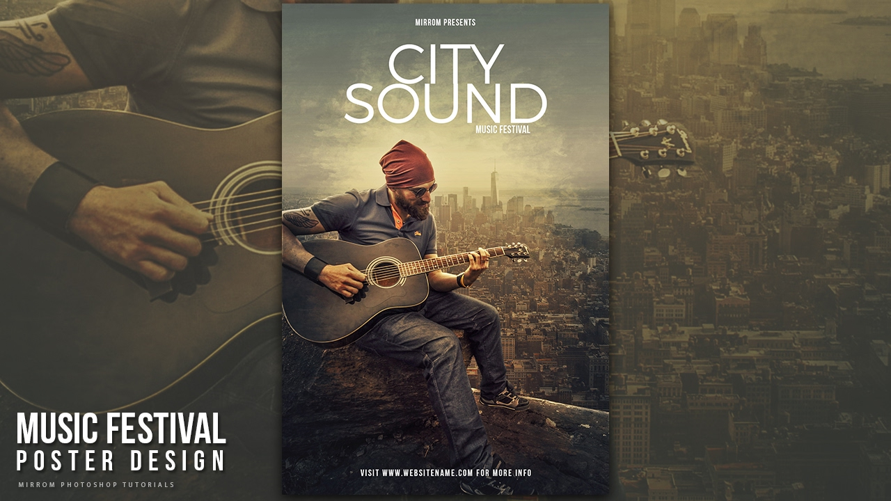 Create A City Sound Music Poster Design In Photoshop Cc Youtube