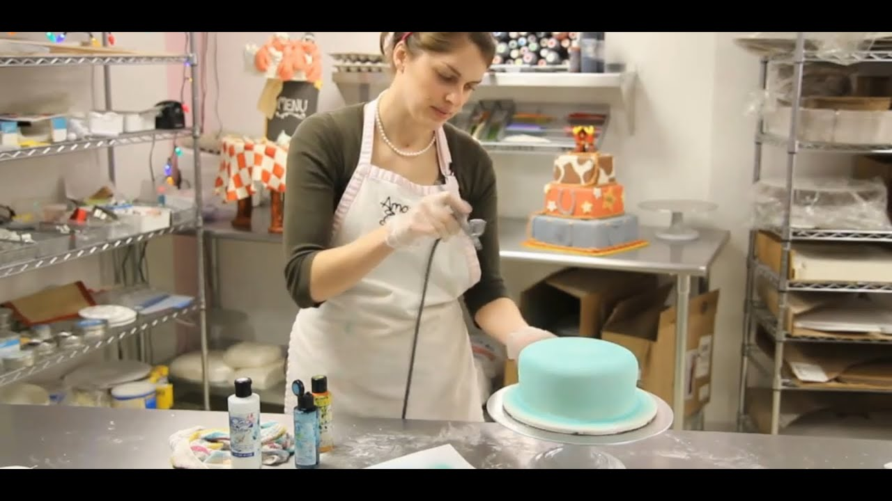 How to Airbrush a Cake   Cake Decorations   YouTube