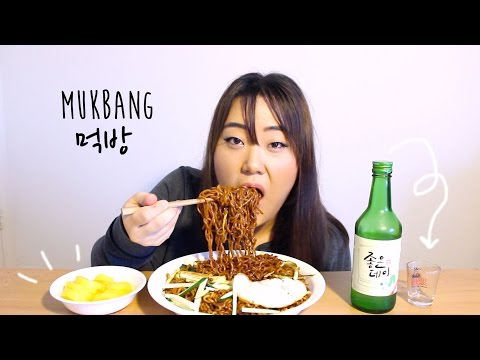 Instant Jjajangmyeon (Black Bean Noodles) | MUKBANG 먹방 | 짜파게티 짜장면