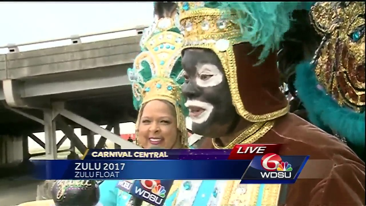 Kellie Brown jumps on Zulu float for Mardi Gras 2017