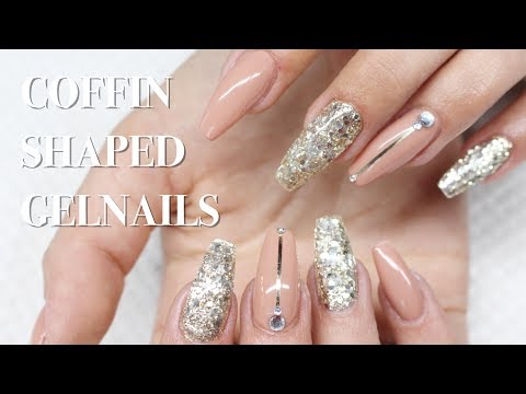 ♡ How to: Nude & Gold Coffin shaped Gelnails