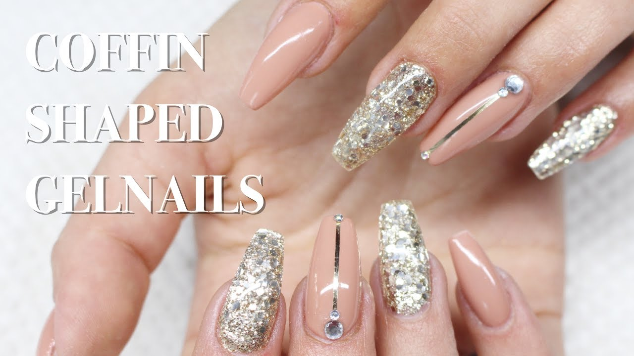 ♡ How to: Nude & Gold Coffin shaped Gelnails - YouTube