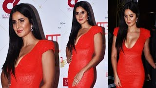 Katrina Kaif Looks Gorgeous in a Plunging Neckline Red Gown at Hello! Hall of Fame Awards 2019
