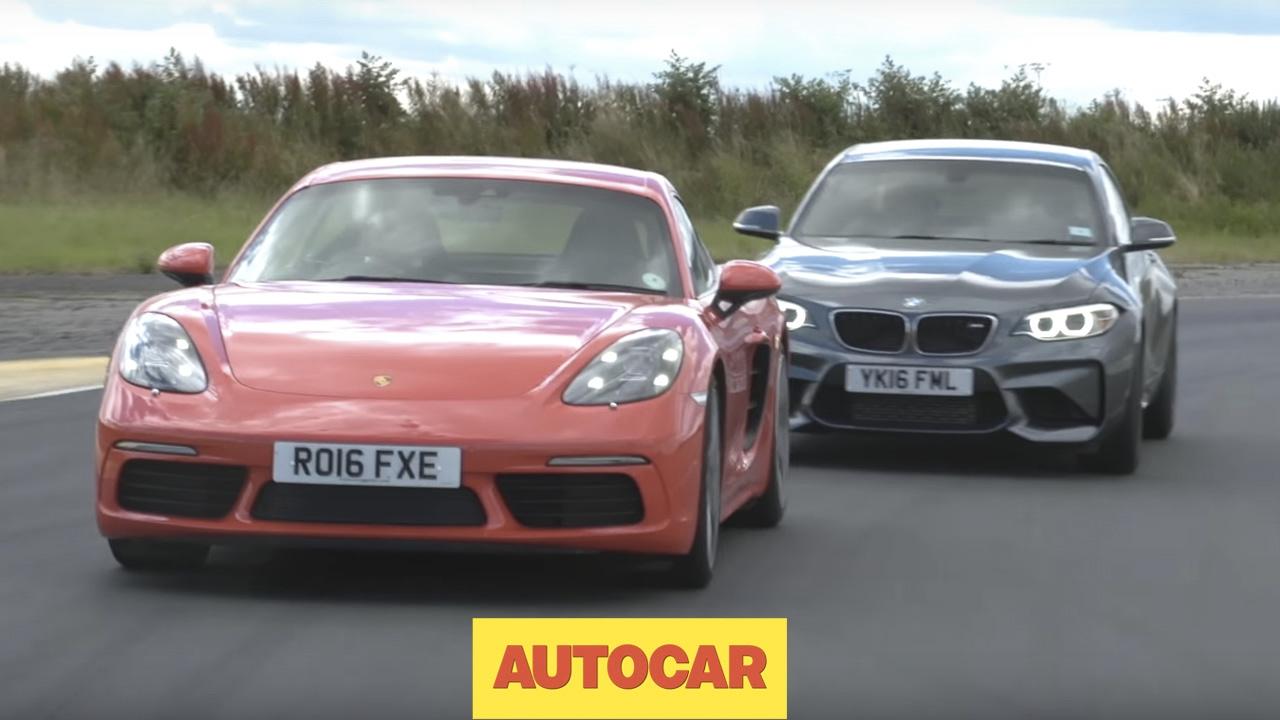 Porsche 718 Cayman S vs BMW M2   Track Shootout   Autocar