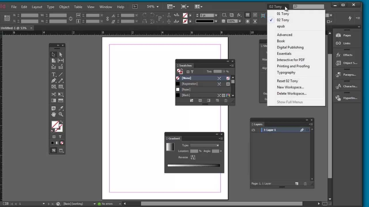 Indesign Cc Workspace Youtube
