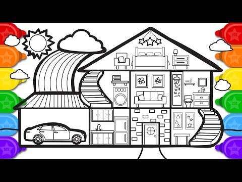 Glitter House with a Garage Coloring Page, Learn Colors Coloring and How to Draw a House