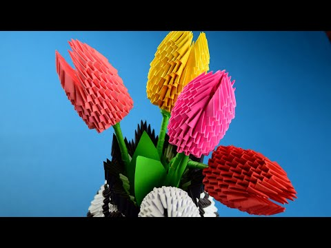 Как сделать цветок тюльпан из бумаги (оригами из модулей). Пошаговая сборка, мастер класс