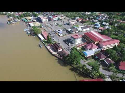 Drone flight over Mukah town, Sarawak, East Malaysia