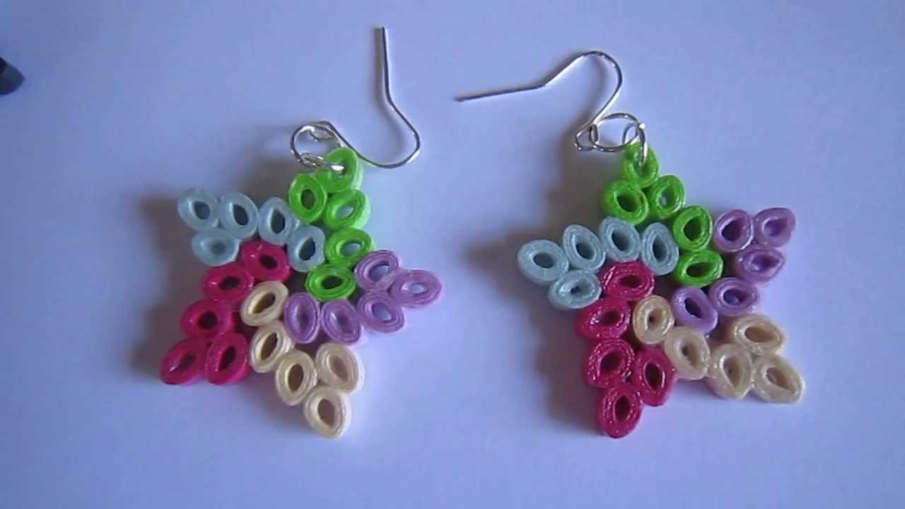 Handmade Jewelry - Paper Quilling Star Earrings (Not