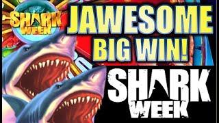 ★JAWESOME BIG WIN!★🐋 $4.00 MAX BET! SHARK WEEK - JAWS OF STEEL  Slot Machine Bonus (EVERI)
