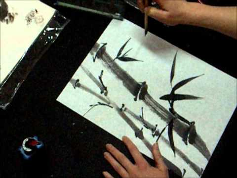 Ogawa Ryu - Sumi-e Bamboo Painting for Student Level 1 with Insect
