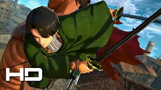 ATTACK ON TITAN (PS4) Captain Levi VS Titans - Walkthrough Gameplay Cutscene