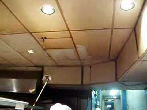 Cleaning Stained Commercial Kitchen Ceiling - YouTube