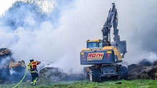 [ZÜNDELNDE KINDER] 300 STROHBALLEN in FLAMMEN - Aufwendige Löscharbeiten Feuerwehr