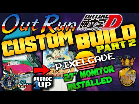 "PART 2 - Custom OutRun/Initial D Arcade1Up - LIVE Modding Session (Pixelcade & 27"" Monitor Install) from Kongs-R-Us"